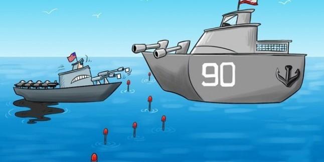 Karikatür-İran Donanması, ABD Donanmasının Gözlem Sahasını İyice Daralttı