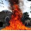 Bulgaristan'da tarihi camide yangın çıktı…
