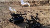 """Foto: """"Seraya Es- Selam"""" direnişçilerinin gelişmiş savaşçı robotları."""