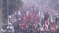Bağdat halkı Ayetullah Sistani'ye destek yürüyüşü yaptı