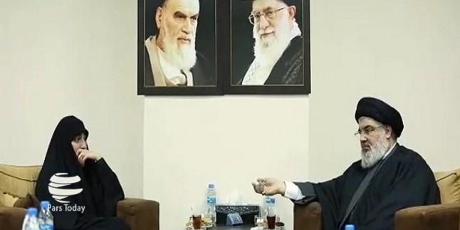 Şehit Süleymani'nin kızı Hizbullah genel sekreteri Seyyid Nasrullah'la görüştü