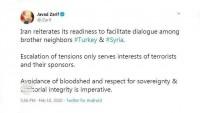 Cevad Zarif: İran, Türkiye ve Suriye arasında görüşmelerin kolaylaştırılmasına hazırdır