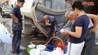 Terörist ÖSO ve destekçileri tarafından suyu kesilen Haseke Halkına Suriye Hükümetinden Su Yardımı