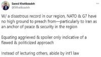 Hatibzade: NATO ve G7 laf yerine uluslararası hukuka bağlı kalmalı