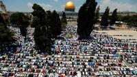 90 bin Filistinli, Bayramı Namazı'nı Mescid-i Aksa'da kıldı