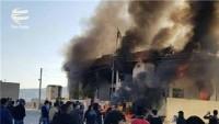 Süleymaniye'de protesto: Barzani'nin partisinin ofisi ateşe verildi