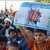 Foto: Kum'lu çocuklar Çocuk katili İsrail'i protesto etti