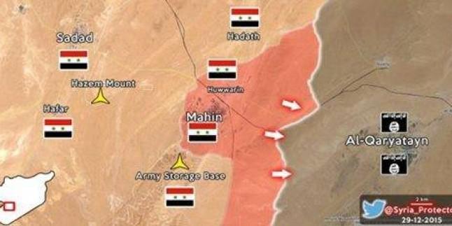 Foto: Suriye'nin Homs kentinin güneydoğusunda son durumu gösteren harita…