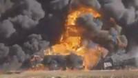 Suriye Ordusu, İdlib'te teröristlerin yakıt tankeri konvoyunu imha etti