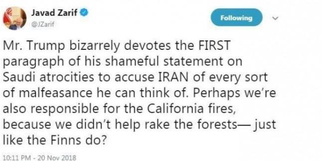 Zarif: Trump'ın Kaşıkçı cinayetiyle ilgili bildirisi 'utanç verici'