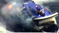 Yanan feribottaki 162 kişi kurtarılmayı bekliyor