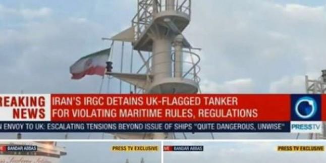 İran, El Koyduğu Petrol Tankerindeki İngiliz Bayrağını İndirip İran Bayrağını Çekti