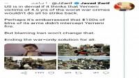Cevad Zarif: Yemen savaşının sona ermesi, herkes için tek çözüm yoludur