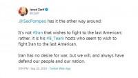 Zarif'ten Pompeo'ya: İran değil, B-Takımı savaş istiyor