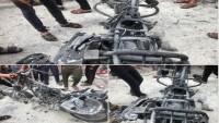 Siyonist İsrail Uçaklarının Bir Motorsikleti Hedef Almaları Sonucu 2 Filistinli Şehid Düştü