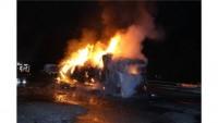Gaziantep'te Bir Tır Şöförü Gümrük görevlilerine kızıp TIR'ı ateşe verdi