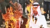 Yemen'de Bin Zayid posterleri ve Siyonist rejim bayrağı ateşe verildi