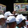 Filistinliler Batı Yaka'da Kızılhaç bürosu önünde eylem yaptılar