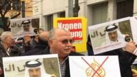 Viyana'da Katar emirinin ikametgâhı önünde gösteri