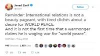 İran dışişleri bakanından Trump'ın dünya barışına ilişkin twitine cevap