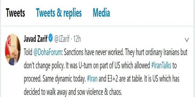 Zarif'ten Amerika'nın bölge ve dünya siyasetlerine eleştiri