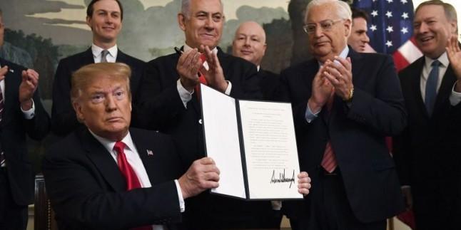 ABD, işgalci İsrail'in Golan Tepepeleri'ndeki hakimiyetini resmiyette tanıdı