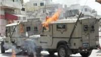 Kudüs'te Siyonist İsrail Güçlerine Ait Cip Atılan Molotofla Alev Aldı