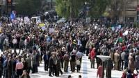 Halep Halkından Suriye Düşmanlarına Karşı Protesto Gösterisi