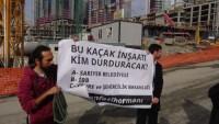 Yürütmesi Durdurulan Ama Hala Çalışmaların Devam Ettiği Ali Ağaoğlu'nun İnşaatında Protesto
