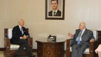 Suriye Dışişleri Bakanı Muallim, BM Suriye Temsicisi Mistura'yı Kabul Etti