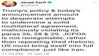 Zarif: Nükleer anlaşma yeniden müzakere edilemez